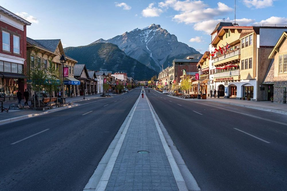 View of Banff town on moped