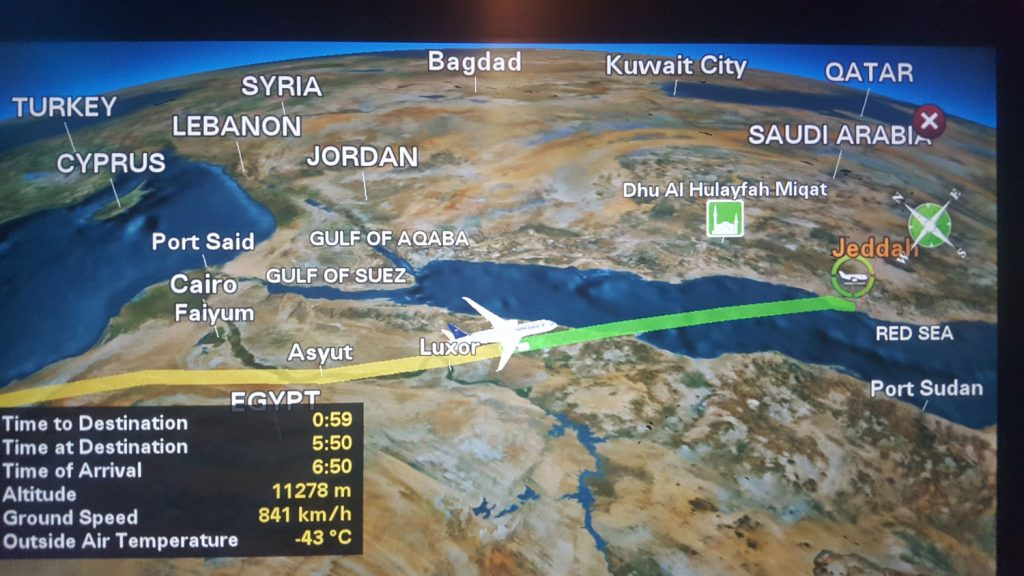 Long haul flight map to Saudi Arabia